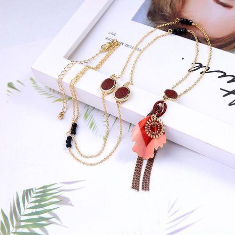 Fashion drip flower tassel with rhinestone necklace NHQD141669's discount tags