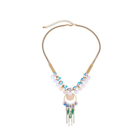 Bohemian shell fringed beaded necklace NHQD141677's discount tags