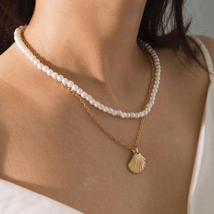Temperament Beads Shell Double Scallop Set Necklace NHXR141695's discount tags