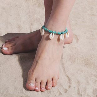 Ethnic style personality colored wooden beads shell anklet bracelet NHXR141701's discount tags