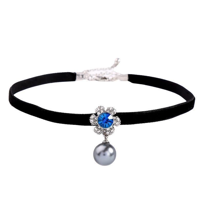 Fashion velvet with flowers and rhinestones beads choker NHQD141704