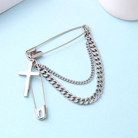 Creative simple pin cross pendant brooch NHQD141706's discount tags