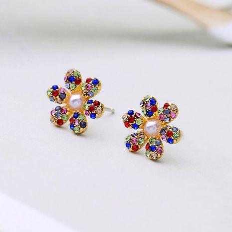 Cute beads zircon and rhinestone flower earrings NHQD141740's discount tags