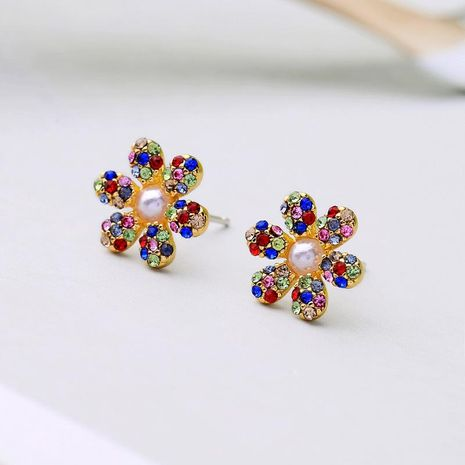 Cute beads zircon and rhinestone flower earrings NHQD141740's discount tags