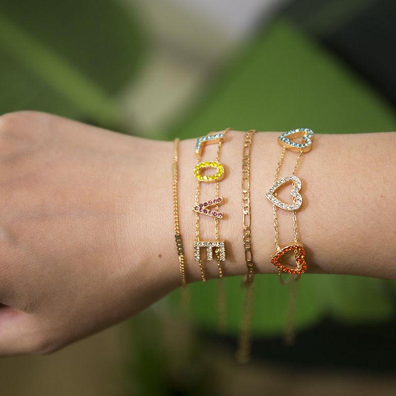 Heart shaped letters love colored rhinestone bracelet NHXR141744