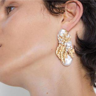 Aretes de perlas de hoja perla para mujer NHJQ141761's discount tags