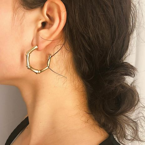 Street beat tide bamboo alloy earrings NHXR141763's discount tags