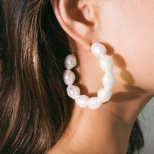 Aretes de perlas exageradas en forma de C con perlas de moda NHXR141770's discount tags