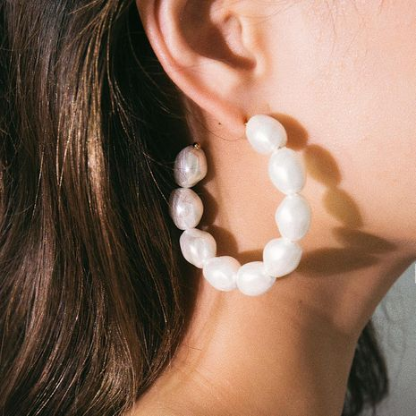 Fashion Beads Exaggerated C-shaped Beaded Stud Earrings NHXR141770's discount tags