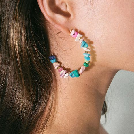Simple C-shaped geometric turquoise colored beaded earrings NHXR141794's discount tags