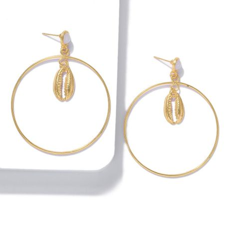 Fashion alloy big circle suit shell starfish alloy earrings NHJQ141795's discount tags