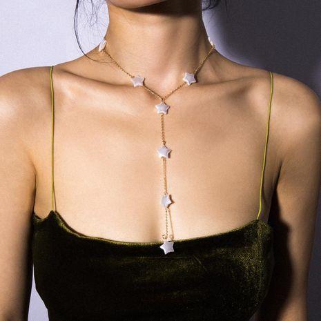 Creativo collar de perlas de cinco puntas en forma de Y con flecos NHXR141805's discount tags