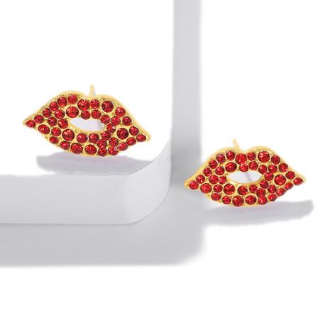 Sexy inlaid colored rhinestones lips full of rhinestone earrings NHJQ141806's discount tags