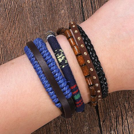 Fashion hand-woven leather bracelet set NHJQ141816's discount tags
