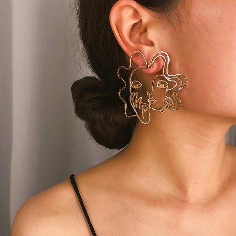 Street shot hollow three-dimensional temperament face earrings NHXR141820's discount tags