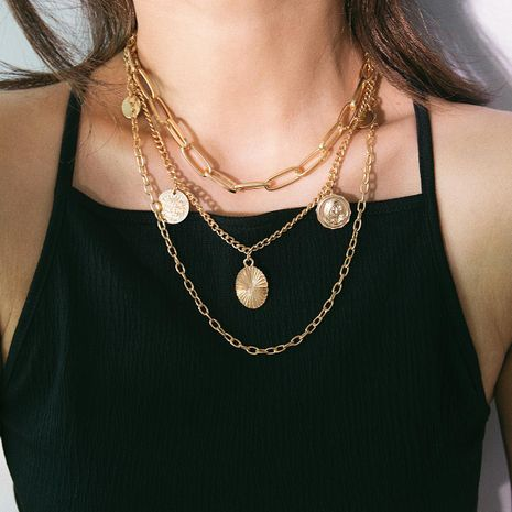 Vintage multi-layer coin tassel chain necklace NHXR141826's discount tags