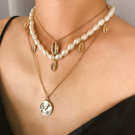 Fashion rice beads shell tassel portrait alloy necklace NHXR141828's discount tags