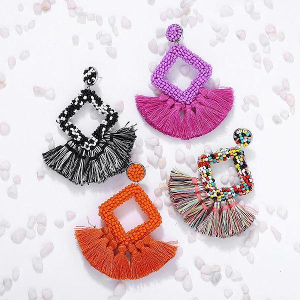 Fashion woven color tassel beads earrings NHJQ141832