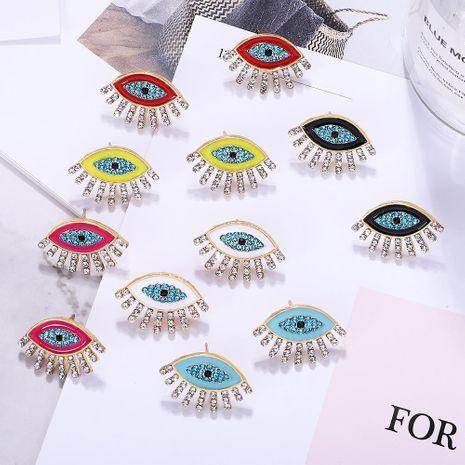 Creative inlaid colored rhinestone eye earrings NHJQ141835's discount tags