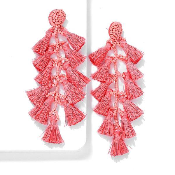 Long hand-knitted rice beads tassel earrings NHJQ141840