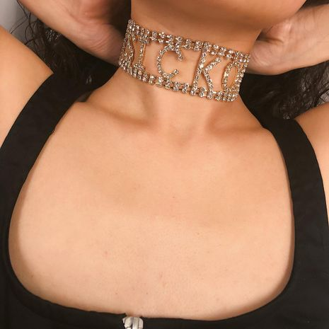Fashion rhinestone alphabet short choker NHXR141848's discount tags