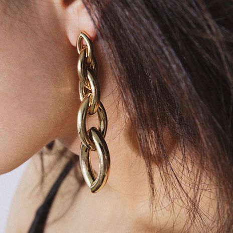 Temperament long geometric chain earrings NHXR141846's discount tags