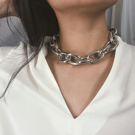 Retro exaggerated punk metal choker NHXR141862's discount tags