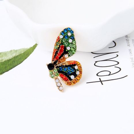 Cute small fresh flower butterfly with rhinestone brooch NHQD141868's discount tags