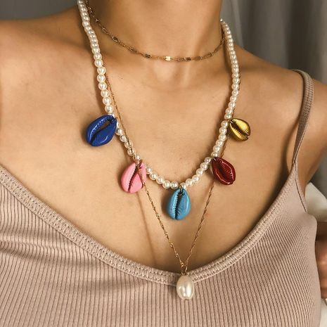 Colorful shell handmade beaded clavicle necklace NHXR141869's discount tags