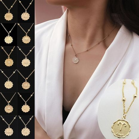 Simple embossed three-dimensional creative necklace NHXR141879's discount tags