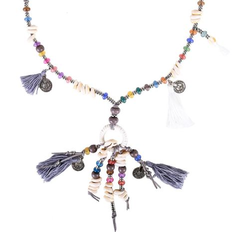 Fashion shell bead tassel coin cotton necklace NHJE141886's discount tags