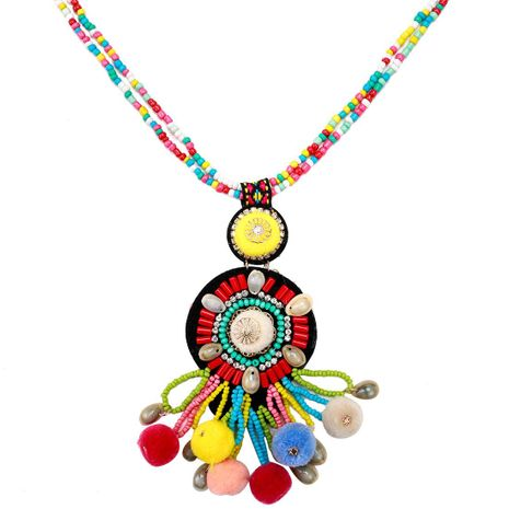 Fashion bead multi-layer hair ball pendant shell necklace NHJE141893's discount tags