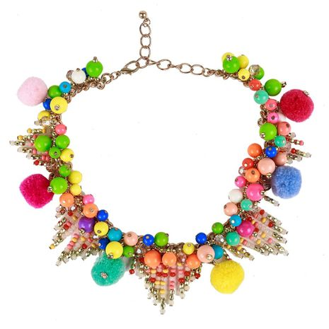 Multi-layer resin triangle hollow bead tassel necklace NHJE141898's discount tags