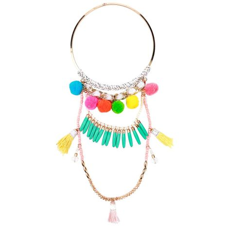 Resin rice beads pendant hair ball acrylic bead necklace NHJE141901's discount tags