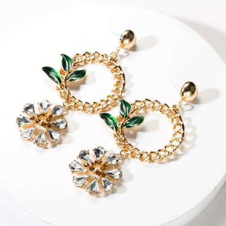 Fashion ring alloy drop oil and rhinestone flower earrings NHJE141910's discount tags