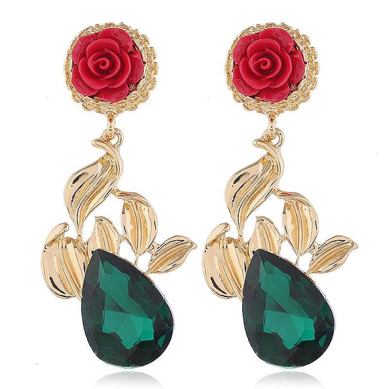Vintage exaggerated flower earrings NHVA141925