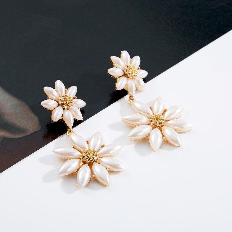 Fashion Double Beads Flower Earrings NHJE141937