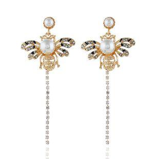 Abeja de borla de oro tachonada de diamantes de moda NHVA141936's discount tags