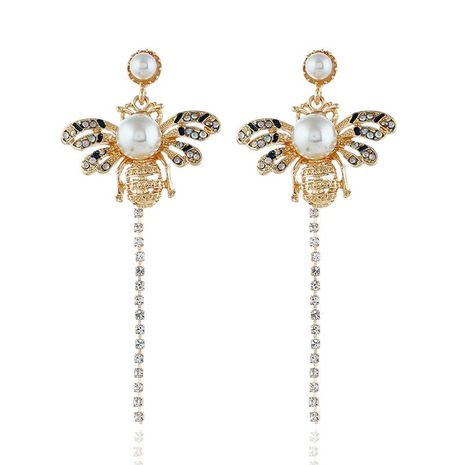 Fashion rhinestone-studded alloy tassel bee NHVA141936's discount tags