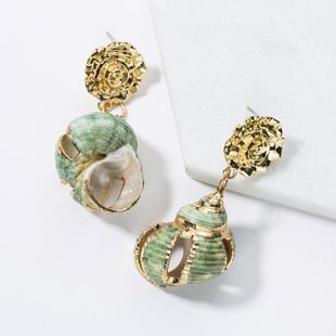 Vintage Alloy Floral Shell Earrings NHJE141947's discount tags