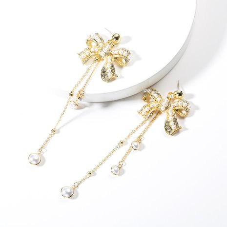 Bow with rhinestones and beadss long earrings NHJE141953's discount tags