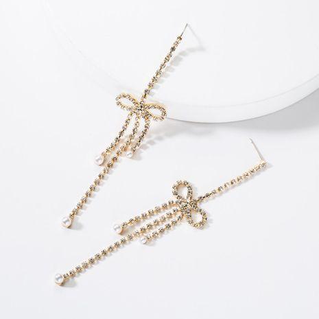 Fashion Rhinestone Long Tassel Bow Earrings NHJE141960's discount tags