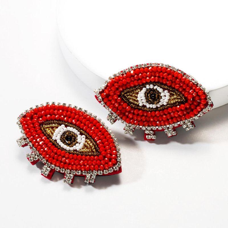 New rhinestone-encrusted bead eye earrings NHJE141962