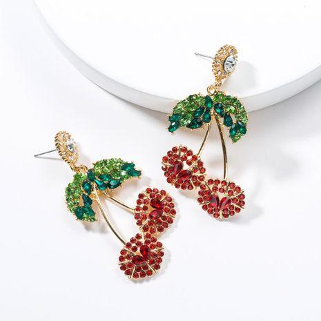 Cute rhinestone cherry fruit earrings NHJE141970's discount tags