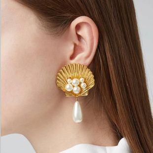 Aretes de perlas de imitación de concha de aleación de moda NHJE141975's discount tags
