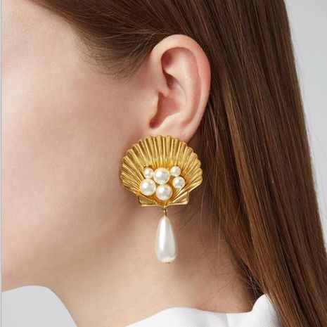 Fashion Alloy Shell Imitation Beads Earrings NHJE141975's discount tags