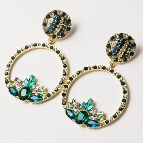 Circle floral and rhinestone earrings NHJE141976