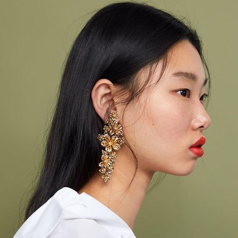 Multi-layer alloy flower long earrings NHJE141978's discount tags
