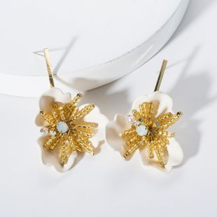 Fashion Resin Floral Acrylic Beaded Earrings NHJE141999's discount tags