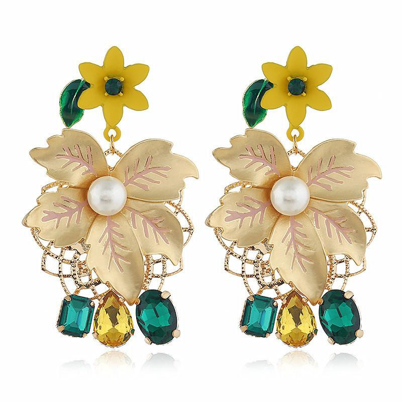 Vintage alloy flower earrings female NHVA142002
